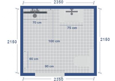 badkamer plattegrond met maatvoering